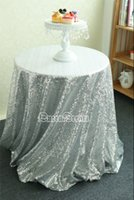 Wholesale China Round Silver Sequin fabric Table Cloth For Wedding Cheap Sequin Tablecloth Wedding Cake Table Cover Event Party Banquet