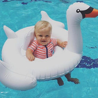 Wholesale 2016 Summer Baby Pink Flamingo Swimming Ring Inflatable Swan Swim Float Water Fun Pool Toys Swim Ring Seat Boat Kids Swimming