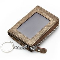 Wholesale high quality fashion women lady cowhide leather coin purse key wallet keychain with photo holder colors