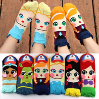 Wholesale Kawaii Ladies Girls Cartoon Ankle Socks Teenager Princess Elsa Anna Mermaid Design Socks Cotton Ruffle Socks Fashion Tube Socks