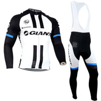 bib tights - White and Black Color Giant Cycling Clothing Winter Cycling Jerseys Long Sleeve Thermal Fleece Cycling Clothes Bib Pants Tight Kits Invierno
