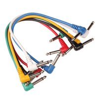 amp patch cord - 6x Effect Pedal Audio Plug Patch AMP Cable Lead Angled for Bass Guitar Cord Set