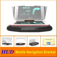 Cheap Car Head Up Display HUD For Car Phone GPS Navigation Glass Reflector Cell phone Holder Mount Bracket + retail package Free shipping cheap