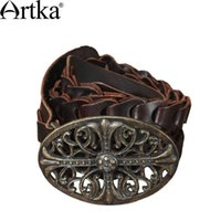 artka fashion - Artka Women S Vintage Knight Cool Fashion Genuine Leather Carved All Match Metal Buckle Belt G02400