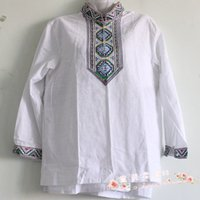 Wholesale Xinjiang ethnic characteristics of men s clothing cotton T shirt short sleeve Ay Gu Za Ali thick Uygur embroidery