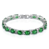 Wholesale Oval Cut Opal and Round White Cubic Zirconia CZ Tennis Bracelet K White Gold Plated Bangle Bracelet