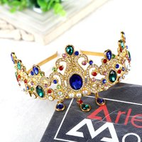 baroque ring - Continental Bridal Crown Hair Accessories Baroque Ring and green tiara crown rhinestone crown married studio accessories