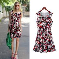 Wholesale Summar Woman Lady Chiffon Floral Pleated Dresses Sleeveness O Collar Knee Length Drop Shipping Customize Service
