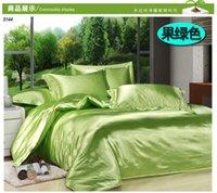 Conjunto de seda verde del lecho de seda del aguacate color sólido puro de la seda de la tela de seda del lino de la ropa de cama del satén de la seda de la reina queen5144