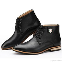 Cheap Italian British Style Fashion Dress Ankle Oxfords Boots Mens Pointed Toe Shoes Quality Leather Hand Sewing Lace Up With Charm Spring Autumn