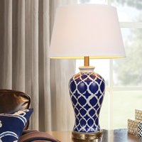 Wholesale Fashion Simple Ceramic Table Lamp Modern Bedside Tables Crystal Lighting Bedroom Room Table Lights Fabric Cover Desk Lamp