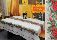 Wholesale 2016 Christmas Table Cloths Xmas Tree Ring Xmas Ball desgin Polyester table Runner Christmas Decoration