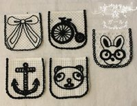 Wholesale Animal Design Embroidery Appliques Cloth Paste Fabric Paste DIY Lace Decoration White and Ecru