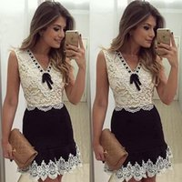 best whites leopard - 2016 brazil New Pattern women dress Sleeveless Lace white patchwork v neck with bow A line best dress