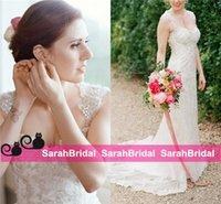 anne red - Anna Campbell Style Garden Sheath Wedding Dresses for Greek Goddess Bride Wear Queen Anne Neckline with Cap Sleeve Bodycon Bridal Gowns