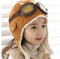 Boy air force beanies - caps beanies winter Children hat cap baby Air Force aircraft lamb thick plush warm hat ear hat Infant s beanies Headwear