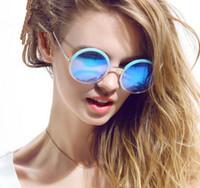 big circle sunglasses - 6Pcs New Brand Women Big Frame Round Sunglasses Retro Over Size Circle Sem Rimless Sun Glasses Colors
