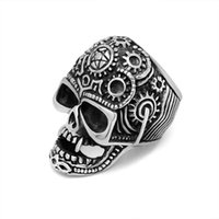 alternative engagement rings - Band Rings fashion Alternative personality trend of men s titanium steel rings vampire punk retro domineering Skull Ring Jewe