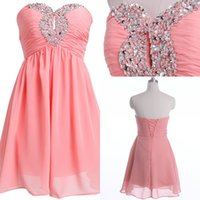 beautiful cheap prom dresses - Beautiful Beaded Sweetheart Short Prom Party Dresses Evening Wear Formal Chiffon Bridesmaid Cocktail Gowns Real Image Cheap Price In Stock