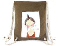 Wholesale Canvas Drawstring Backpack School Book Bag Travel String Bags Rucksack FBB16