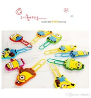 Wholesale 10 models Despicable Me Minions paper clip safe Silicone Pin children kids Bookmarks card Invoices folder carton Sealing clip BY DHL
