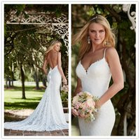 Wholesale Sexy White Mermaid Wedding Dresses Lace Spaghetti Strap Backless Wedding Dress Chapel Train Formal Women Bridal Gowns Vestido De Novia