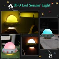 Wholesale UFO Human Body Induction Motion Sensor LED Night Light USB Rechargeable Beside Table Wall Lamp Children Light luminarias