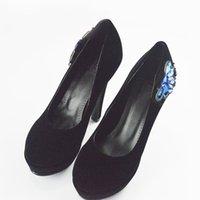 Dower Me High mujer de 2016 zapatos de primavera Rhinestone zapatos de tacones altos zapatos de las bombas elegantes de la fiesta Negro Rojo Zapatos de mujer