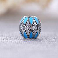 Wholesale Blue Enamel Ball Pendant Genuine Sterling Silver Crystal Charms Beads For Pandora Bracelets Necklace Fine Women Jewelry X331
