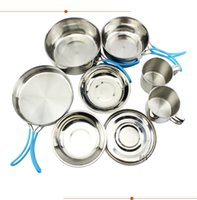 Wholesale Nine pieces of stainless steel camping sets of stainless steel pot export non slip silicone hand set of outdoor cooking utensils