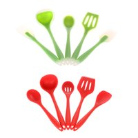 Wholesale New set Silicone Kicthen Cooking Tools Spatula cooking Spoon Soup Ladle egg Turner kitchen Accessories Silicon Utensil