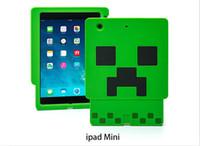 Wholesale Minecraft Creeper Character Case D Cartoon creeper Silicone Case cover for iphone5 s iphone6 plus Samsun S5 iPad Mini mini free ship
