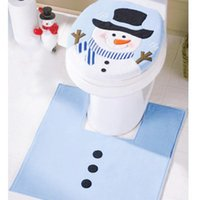 Wholesale Snowman Pattern Bathroom Rug Set Nonslip Contour Mat Toilet Lid Cover Rug Festival Ornament Christmas Decoration