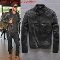 Wholesale 100 Genuine Leather Jacket Men Harley Mens Leather Jackets And Coats Beckham Motorcycle Vintage Black Coat