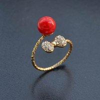 Élégant plaqué or rouge perle Anneaux Crystal Bow Anel Joias avec cristal autrichien ajustable Anneaux Stellux Utopia bijoux DHR265