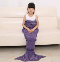 Wholesale Kids Crochet Mermaid Blankets Handmade Mermaid Tail Blankets Mermaid Tail Sleeping Bag Knit Sofa Nap Blankets Costume Cocoon cm