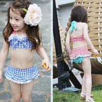 Wholesale Baby Girls Bikini swimwear Summer Infants Swim Bathing Suit Skirt Costume Girls Straps Plaid Kids swimsuit toddler clothes HX
