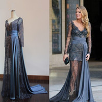 Acheter Images longues robes de soirée rouge-Real Picture Robes de soirée à manches longues en gris Gossip Girl Blake Lively V-Neck Sheer Lace Beaded Celebrity Red Carpet 2016 Customized Gowns