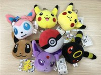 Wholesale 2 inch Poke plush pendant styles Pikachu plush toys pendant cartoon Umbreon Espeon Eevee Poke Ball Sylveon stuffed doll Xmas gifts