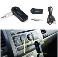Wholesale Universal mm Streaming Car A2DP Wireless Bluetooth Car Kit AUX Audio Music Receiver Adapter Handsfree with Mic for iPhone Samsung MP3