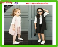 Wholesale Kids Summer Shorts Older - New Summer Kids Clothing Set Children Soft Fashion Outfit T-Shirt Tops + Vest +Wide Pant Girl Format Set Pure Color For 2-7years Old Girls