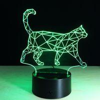 aa cat - 2016 Walking Cat Style D Optical Lamp Night Light LEDs Night Light AA Battery DC V Colorful D Lamp