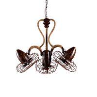 Wholesale LOFT fanchandelier Bar Cafe rope iron rust fan Chandelier
