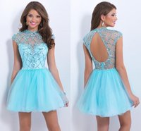 baby blue cocktail dresses - A Line Tulle Beaded Baby Blue Homecoming Dresses Rhineshone princess Sleeveless Prom Party Cocktail Gowns for graduation party