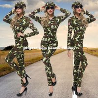 army female uniform - DHL Army green costumes cosplay instructor female officer COSPLAY clothes bar night club camouflage theme party uniforms uniform temptation