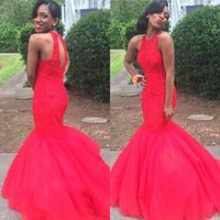 african rabbit - Elegant Red Mermaid African Evening Prom Dresses Long Beaded Appliques Party Gown robe rouge jessica rabbit