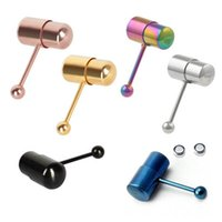 Wholesale 50piece New Arrival L Stainless Steel Vibrating Virbate Tongue Bar Ring Stud Body Piercing sex toys for men