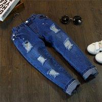 Wholesale Kids Cute Pants Private cowboy paint worn holes kids trousers boys denim pants Summer Kids T shirt