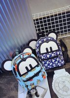 Wholesale Korean version of the cartoon character Mickey Mouse ears with two backs hip hop street girls backpack shoulder bag tide