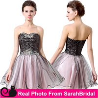 Wholesale 2016 Graduation Dresses for Juniors Teens Sweet Sixteen College Girls Sale Cheap Corset and Tulle Black Pink Crystals Homecoming Prom Gowns